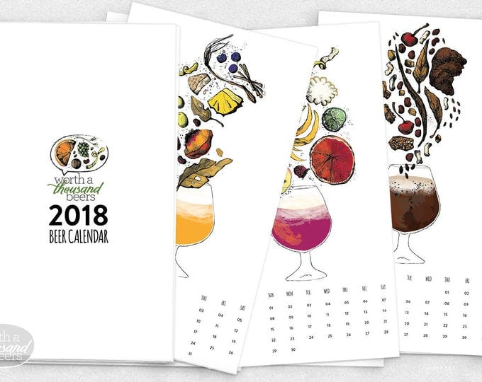Featured listing image: 2018 Beer Art, Brewery Art, Beer Calendar / 6.75x12