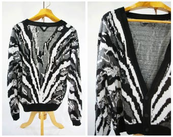 Men's Cardigan Sweater New Wave 80's // Black and White Large