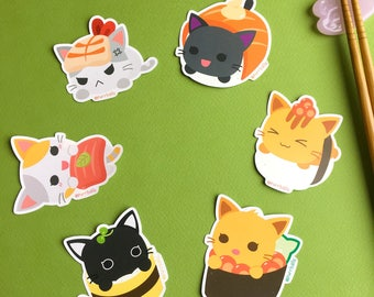 Purrballs Handmade Cat Sushi Shop Stickers Set