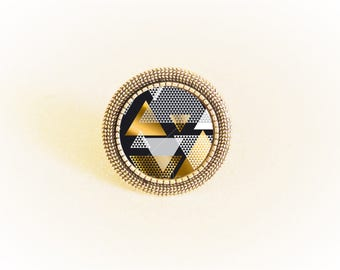 Bronze effect disco black and gold geometric pattern cabochon Adjustable ring