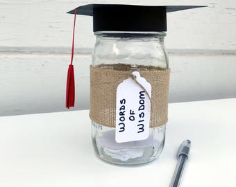 Memory Jar - Guest Book - Words of Wisdom - Graduation Party Ideas - Graduation Decorations - Graduation Cap - Graduation Centerpiece Ideas