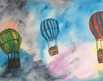 "Balloon paitning watercolour ""to the great adventure"""