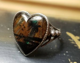 Gorgeous Hoffman heart shaped sterling butterfly wing palm tree beach scene ring size 8