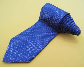 Brooks Brothers 346 Tie Woven Silk Geometric Pattern Blue Vintage Designer Dress Necktie Made In USA