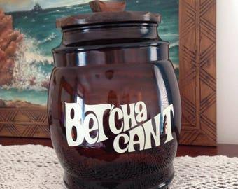 """Vintage Siesta Ware """"Betcha Can't"""" Cookie Jar"""