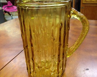 Vintage Amber Pitcher, Anchor Hocking, Tahiti Pattern, Tiki