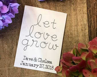 10 Let love grow personalized wedding favors - seed packets - guest favors - flower seeds favors - guest gift - flower packet