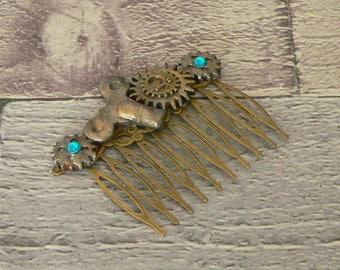 Turquiose Cog Hair Comb, Steampunk Hair Comb, Cog Hair Comb, Neo Victorian Hair Comb, Steampunk Jewellery, Steampunk Jewelry