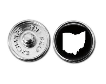 Ohio charm, snap charm, ohio jewelry, snap button charm, snap button jewelry, snap button, button jewelry, snap jewelry