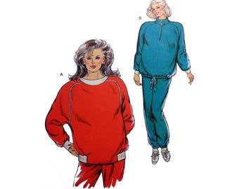 """Women's Maternity Jogging Suit, Sweatpants and Sweatshirt Sewing Pattern Misses Size XS-S-M-L Bust 31 1/2 - 41 1/2"""" Uncut Kwik Sew 1687"""