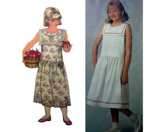 Sleeveless Pullover Summer Dress, Bib Collar Sewing Pattern, Girl's Size 10, 12, 14 Easy to Sew Simplicity 8039