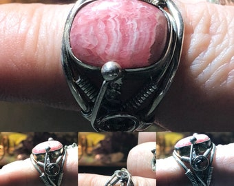 Rhodochrosite sterling wrap ring size 7