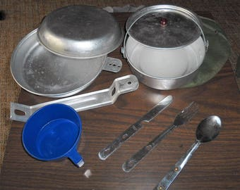 Vintage, Trail Mess Kit, Camping Gear, Pots Pans, Utensils, Measuring Cups, Gift for Him, Boy Scouts, Hiking Gear, Rustic, Mess Kit, Country