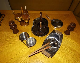 Vintage Serving Set, Danish, Eames Era, Teak Wood, Condiment, Tiered Tray, Carved Wood, salad Spoons and forks, Stainless Steel and Wood