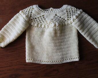 jacket, yellow, crochet, hand knitting, rounded yoke