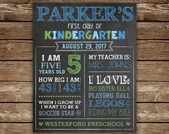First Day of School Chalkboard, Printable First Day of School Sign, Back to School Chalkboard, Boy