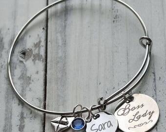 Boss Lady Wire Adjustable Bangle Bracelet