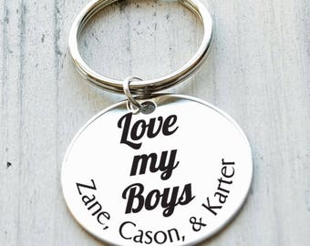 Love My Boys  Personalized Key Chain - Engraved