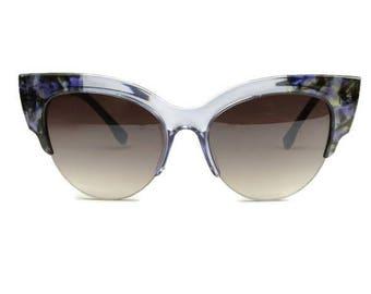 XL oversize sunglasses cateye women blogger style blue grey black