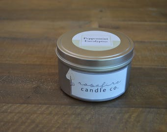 Handcrafted 8 oz Peppermint Eucalyptus Soy Candle