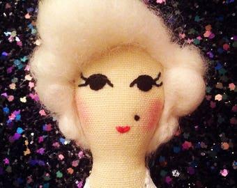 Marilyn Monroe Brooch. Textile Brooch. Mini Doll.