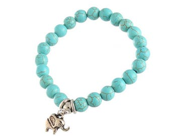 Turquoise Beaded Bracelet, Agate Stone, Yoga, Gift Ideas, Elastic, Charm Bracelet, Personalize, Gifts for Her, Birthday, Love,
