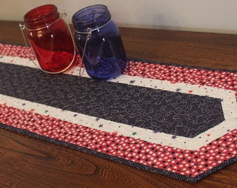 Red, White and Blue Quilted Table Runner