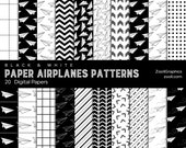 Paper Airplanes Patterns Black & White, 20 Digital Papers 12x12, Pattern File PAT Included, Seamless, Commercial Use INSTANT DOWNLOAD