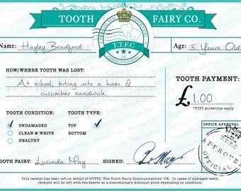 Tooth fairy letter. Official tooth fairy, children's tooth fairy certificate. Personalised tooth fairy, Postcard Digital Download