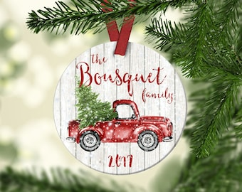 Family Christmas ornament.Vintage Red Truck Ornament.Christmas ornament.Cheap gift.Christmas Gift.Personalized gift.Custom ornament