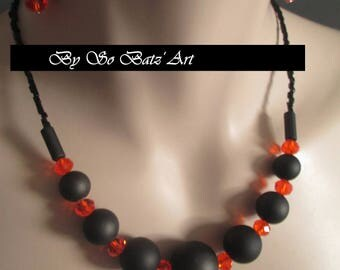"Necklace + earrings ""Citrus"" beads erased and orange swarovski crital"