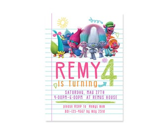 Trolls Birthday Party Invitation