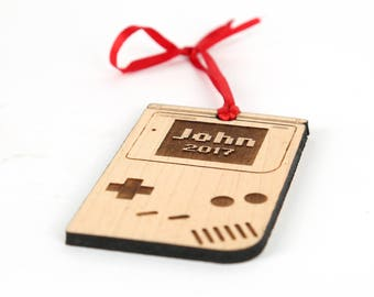 Personalized baby christmas ornament babys first gameboy inspired christmas ornament with personalized name solid wood ornament with pixel name engraved negle Image collections