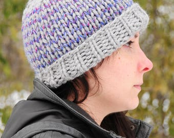 Purple striped hat, gray striped hat, purple hat, Hand knit hat, beanie, women's winter hat, gift for her, Christmas gift