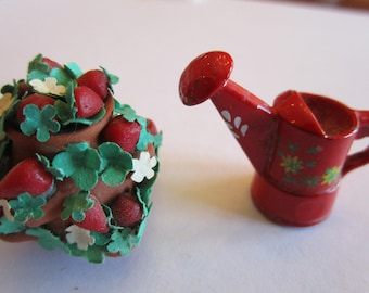 1/12th scale strawberry pot with watering can