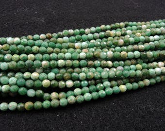 """Rare Natural African Green Jade Beads 4mm Faceted Round Beads 16"""" Strand"""