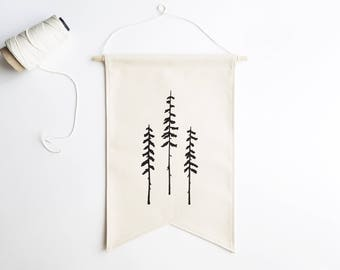 Canvas Banner / Tree Silhouettes / Fabric Wall Hanging / Wall Banner / Single Banner / Canvas Flag / Gifts for Nature Lovers / Minimal Decor