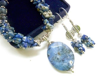 Denim Blue Earrings Sodalite Dangle Earrings Natural Stone Jewels Christmas Jewelry Set Luxury Gift for Mother for Sister Healing Stone