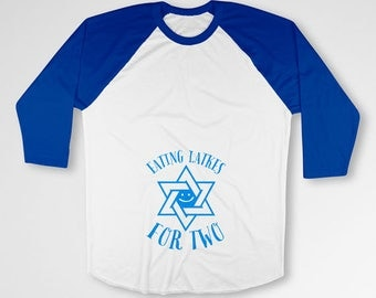 Hanukkah Maternity Announcement Shirt Pregnancy Reveal Latkes For Two Gifts For Expecting Mom Jewish Holiday Chanukah Gifts Raglan TEP-514