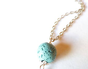 Aqua Lava Bead with Tibetan Silver Bird Diffuser Necklace Essential Oil Aromatherapy Young Living Doterra