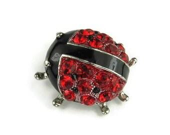 Red Rhinestone Ladybug Pin