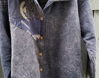 Stone Patchwork Winter Jacket for Ladies & Men (Blue Indigo only)