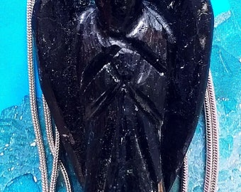 Powerful Large 2 Inch Black Tourmaline CRYSTAL ANGEL Pendant With Silver Chain, Optional Bracelet, Orgonite, Reiki Healing