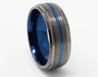 Gunmetal Tungsten Wedding Band, Blue and Black Finish, 8MM Width, Comfort Fit, Free Engraving, Anniversary Gift,  Sizes 7-13