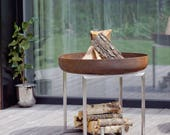 Steel Fire Pit CUBE - Contemporary Design Firepit / Outdoor Heater / Garden Wood Burner / Fire Bowl