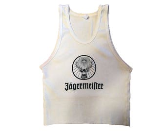 Vintage Jagermeister White & Black Deer Logo Ribbed Crop Tank Top