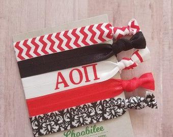 AOII Hair Ties - Alpha Omicron Pi Elastic Hair Ties