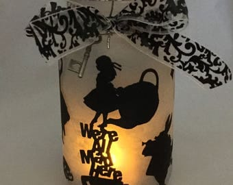 Alice in Wonderland Mason Jar Lantern - Luminaire - Flameless Votive Holder - Mason Jar Nightlight