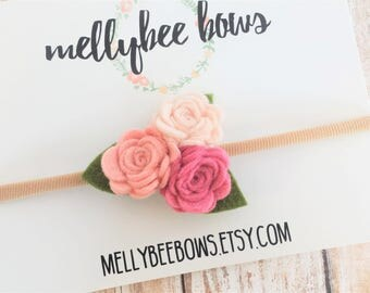 Mini Felt Rose Trio Flower Crown Headband- CHOOSE ANY COLORS, 40+ Colors/ Flower Headband / Mini Felt Rose Trio Headband / Felt Flower Crown