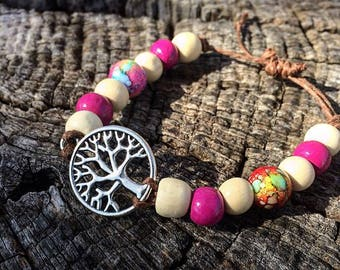 Purple & White Tree of Life Bracelet